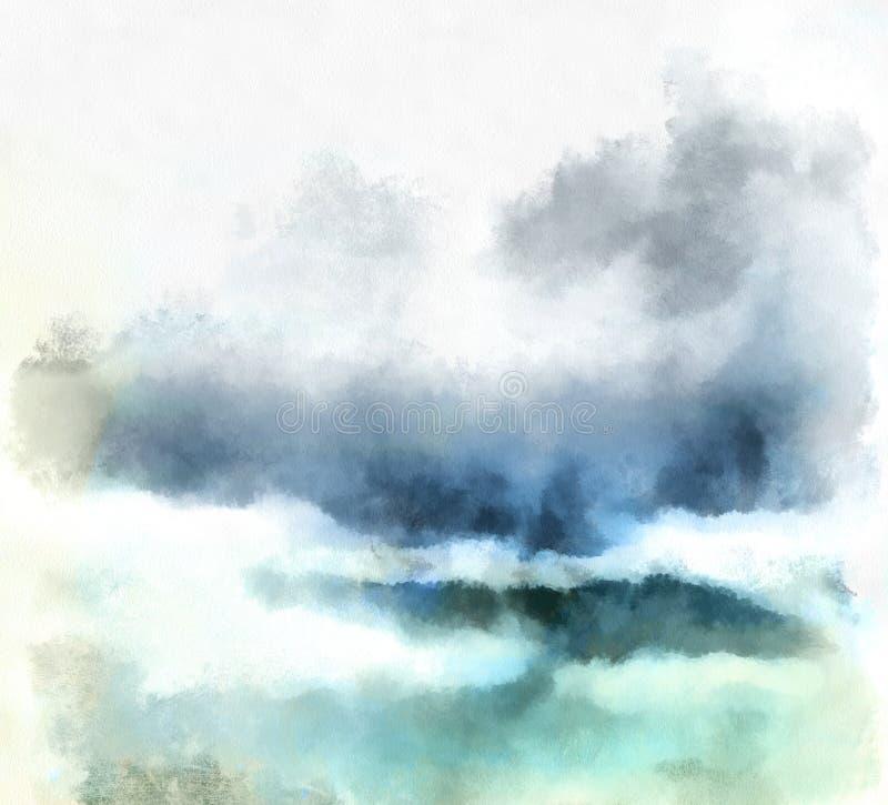 A aguarela nubla-se o fundo ilustração royalty free