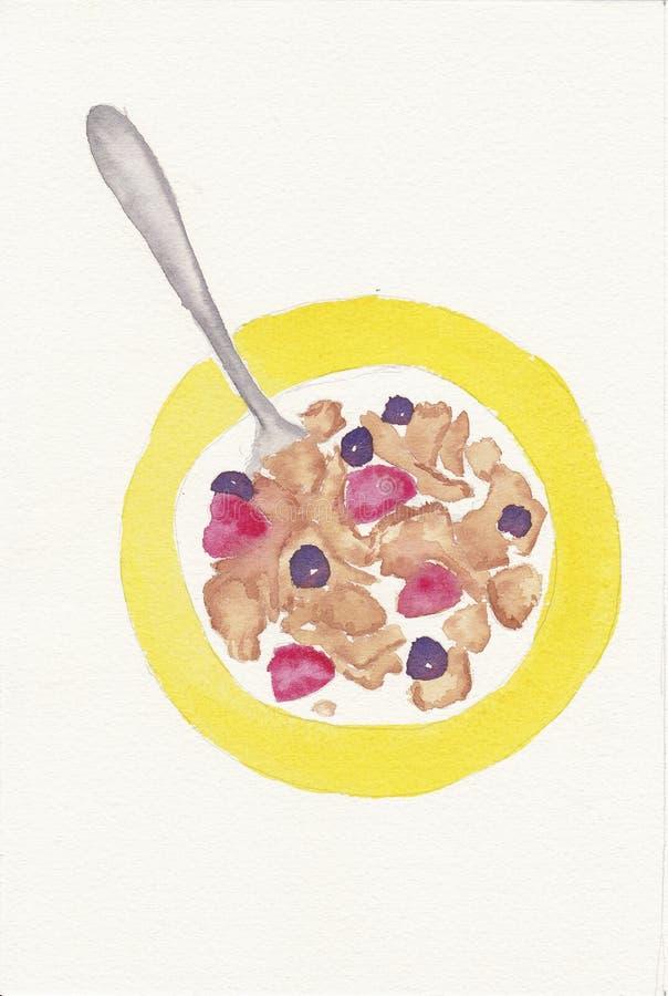 Aguarela pintado mão da bacia de cereal ilustração stock