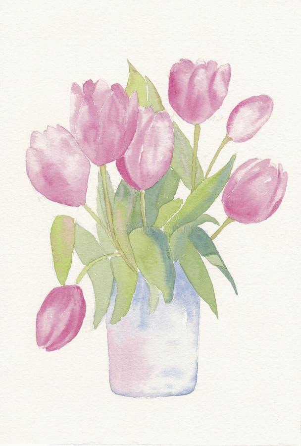 Aguarela pintado mão de um grupo das tulipas ilustração royalty free