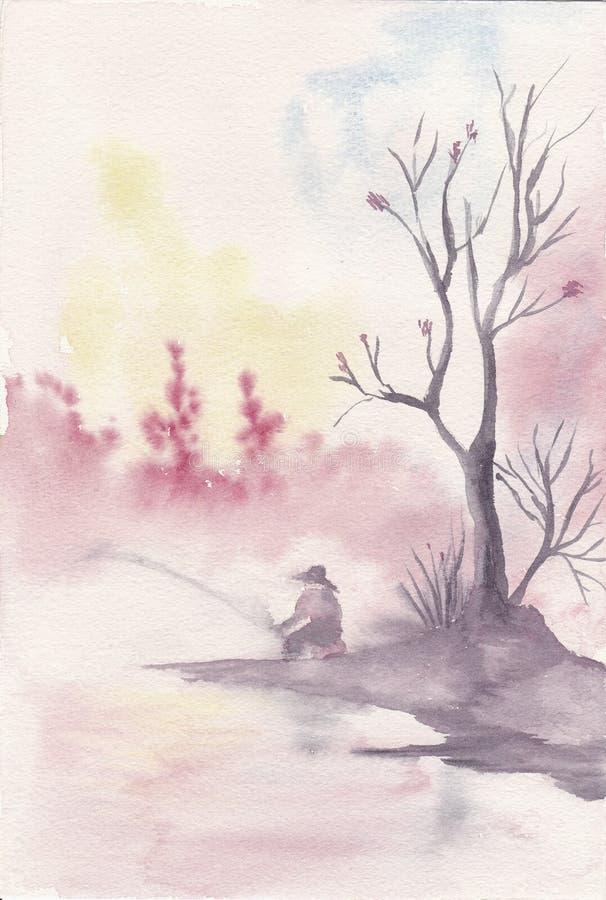 Aguarela pintado mão de uma pesca da pessoa ilustração do vetor