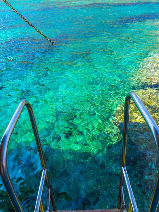 Aguas azules claras hermosas del Mar Egeo - borde de los pasos del carril en la nave imagen de archivo libre de regalías