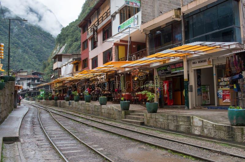 Aguas Calientes (Machu Picchu) i Peru arkivfoton
