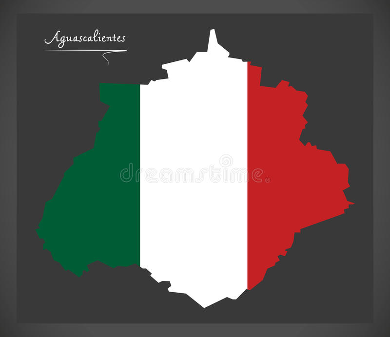 Aguascalientes Map With Mexican National Flag Illustration Stock