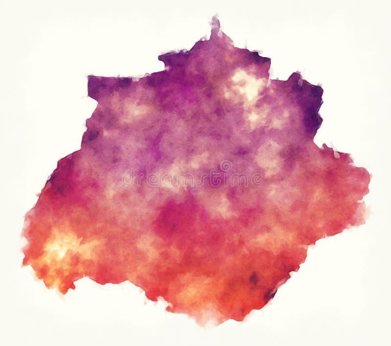 Aguascalientes-Staatskarte von Mexiko vor einem weißen backgroun lizenzfreie abbildung
