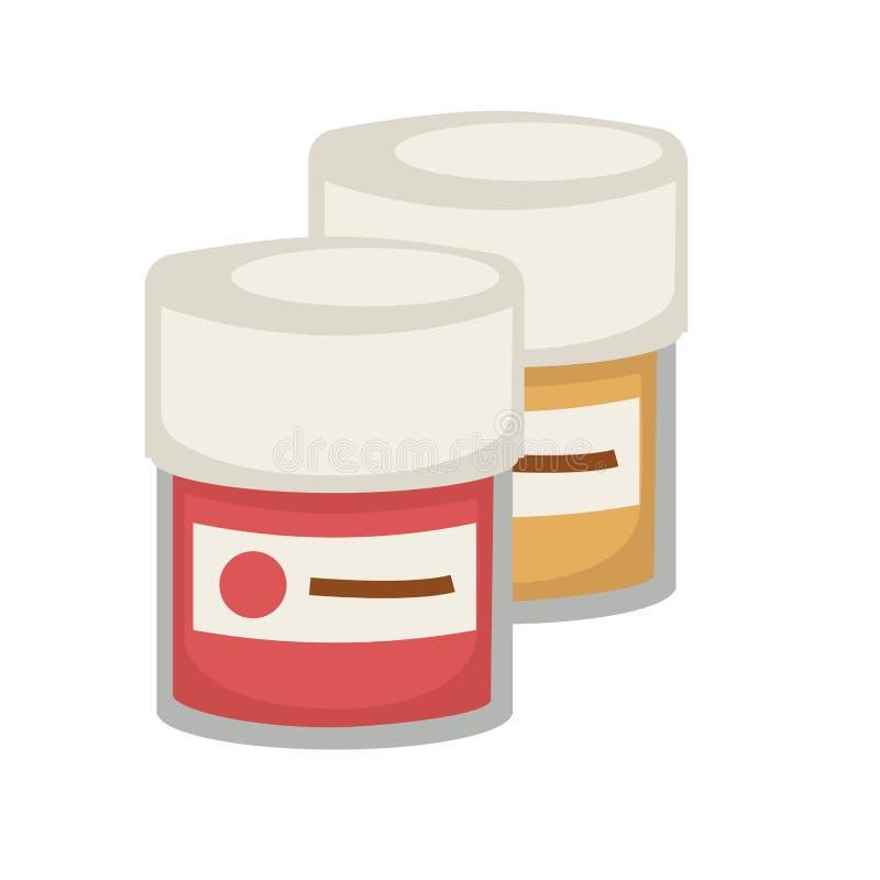 Aguazo del artista o del pintor, acuarela o iconos planos del vector de las botellas del tubo de la pintura de aceite fijados stock de ilustración