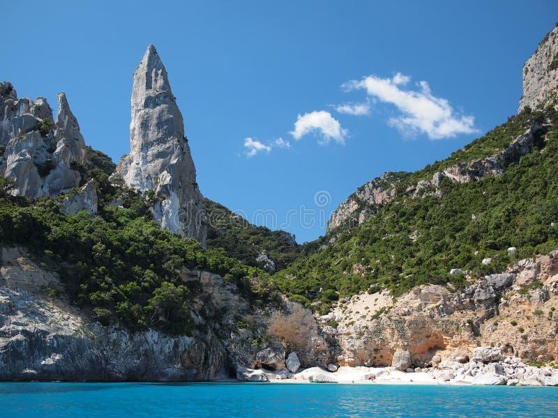 撒丁岛Cala Goloritze海滩 免版税库存图片