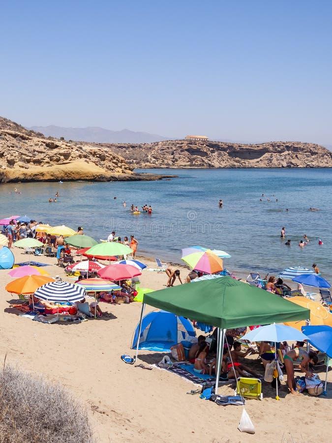 Aguilas, beschermd marien park van de vier inhammen, op de Middellandse Zee van Murcia, een toeristenbestemming in Spanje royalty-vrije stock afbeelding