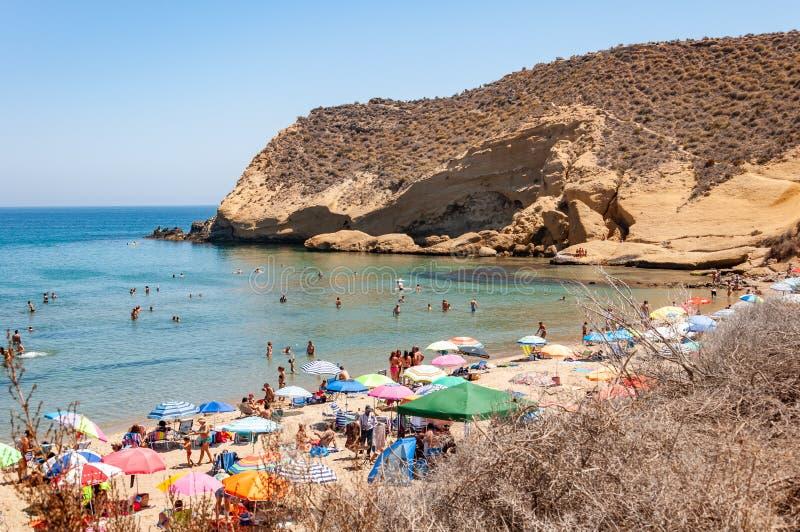 Aguilas, beschermd marien park van de vier inhammen, op de Middellandse Zee van Murcia, een toeristenbestemming in Spanje stock foto's