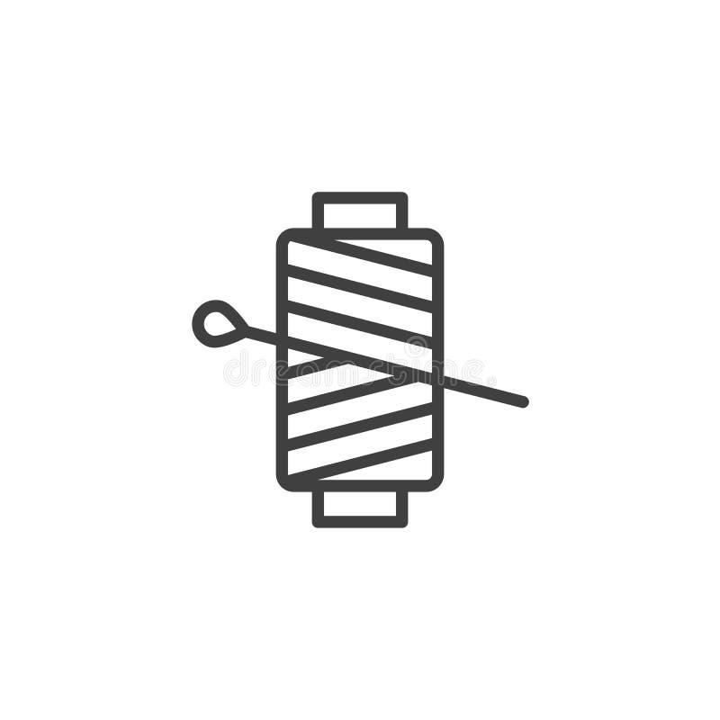 Aguja de costura con la línea icono del carrete del hilo ilustración del vector