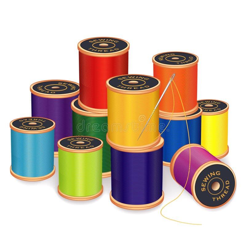 Aguja de costura e hilos, colores brillantes ilustración del vector