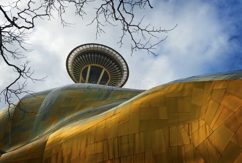 Aguja del espacio de Seattle y el proyecto de la música de la experiencia fotos de archivo