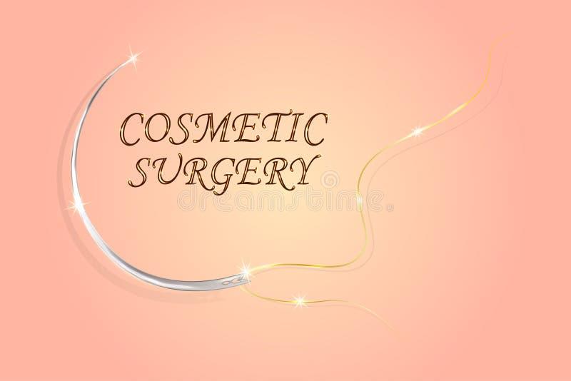 Aguja e hilo quirúrgicos en un fondo de la piel stock de ilustración
