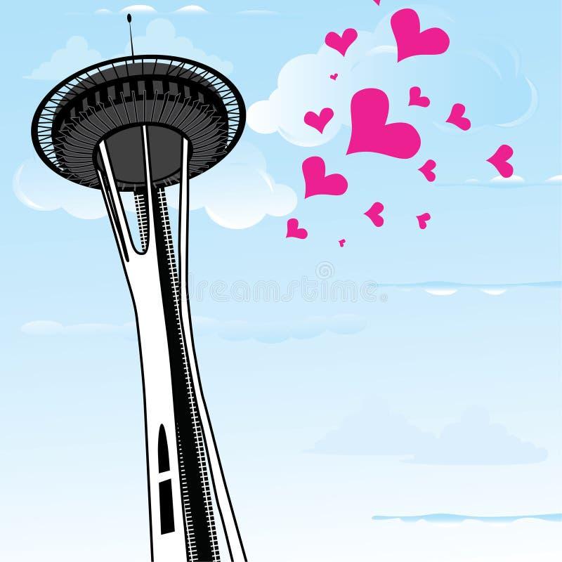 Aguja famosa del espacio una torre de observación de Seattle, de Washington, y de muchos corazones como símbolo del amor a la Sea stock de ilustración