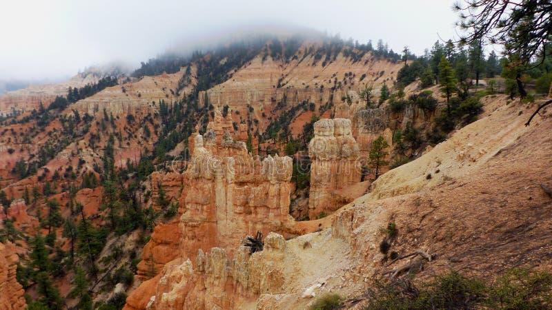 agujas de roca roja en el Parque Nacional del Cañón Bryce foto de archivo