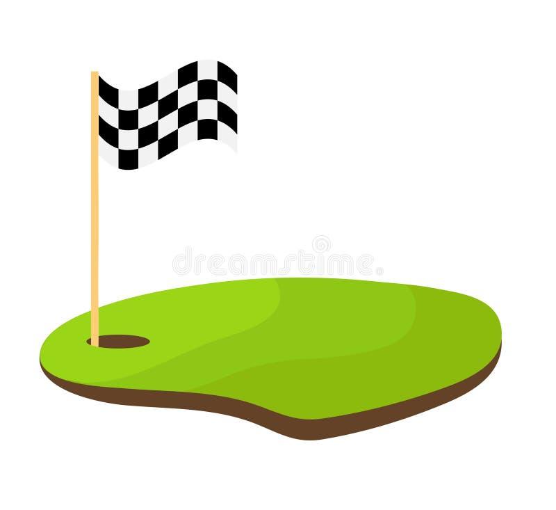 Agujeree el golf con el illustrat blanco y negro del vector de la acción de la bandera del deporte stock de ilustración