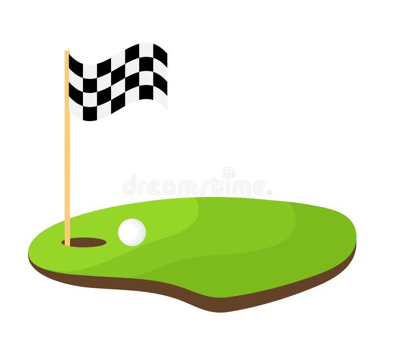Agujeree el golf con la bandera blanco y negro y el vector blanco de la acción de la bola libre illustration