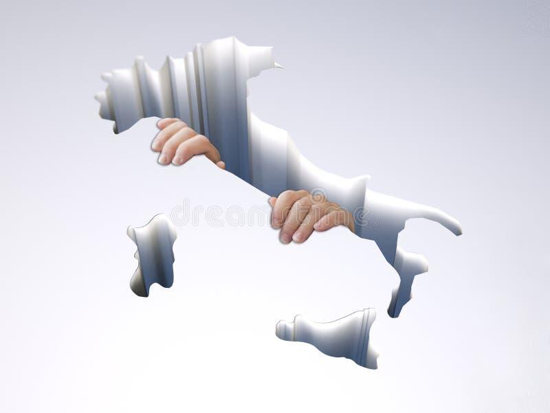 Agujero con un mapa de Italia con las manos que se aferran ilustración del vector