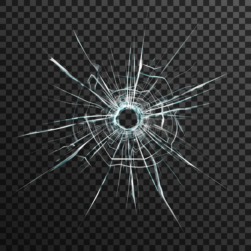 Agujero de bala en vidrio transparente stock de ilustración