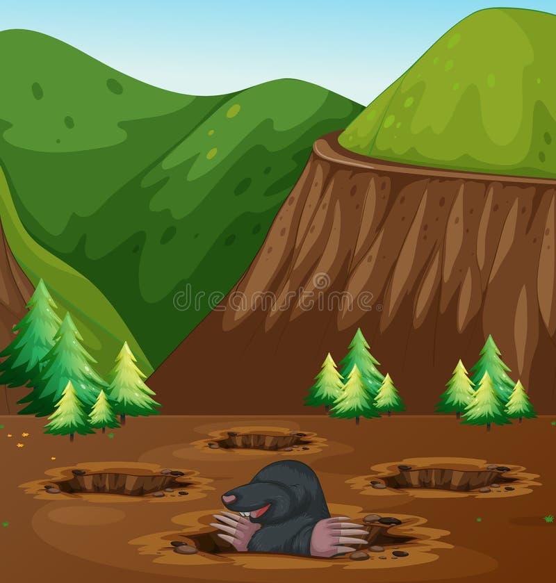 Agujero de excavación del topo en naturaleza stock de ilustración