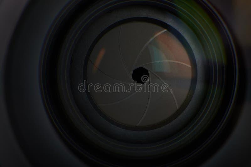 Agujero de la abertura de lente fotos de archivo