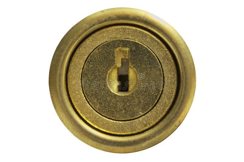 Agujero de la cerradura de oro aislado en blanco imágenes de archivo libres de regalías