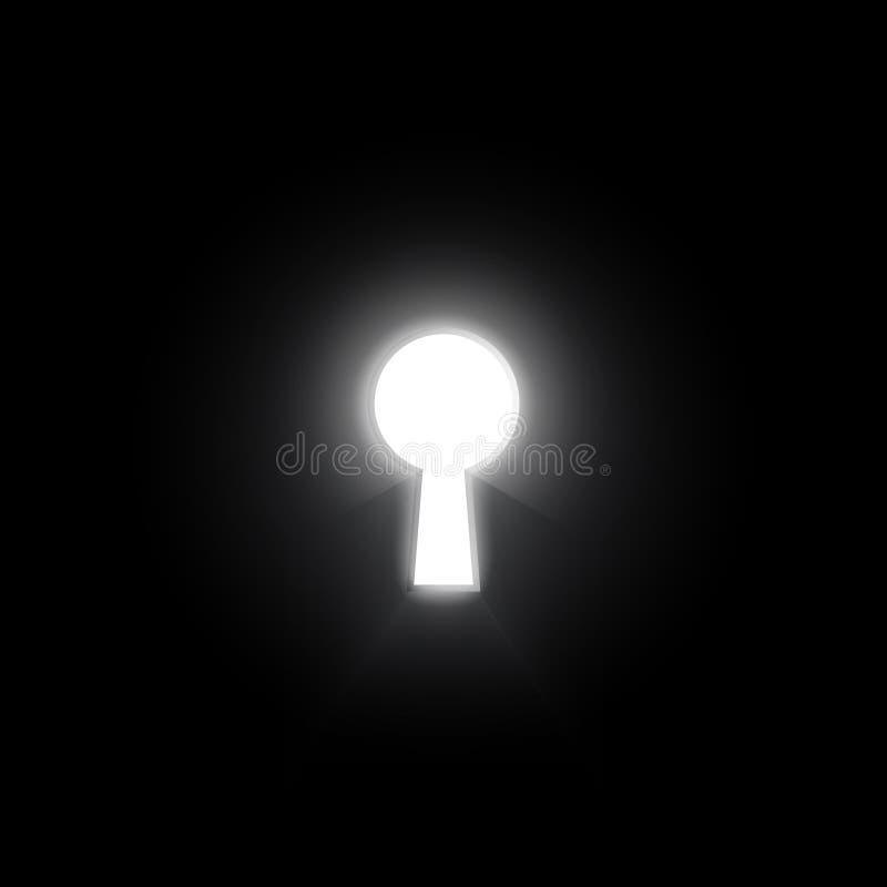Agujero de la cerradura del resplandor en la pared oscura con ligero y brillante, llave de la solución del éxito, concepto del ne stock de ilustración