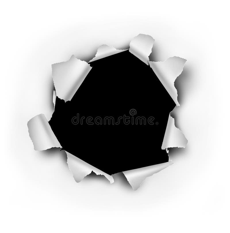 Agujero de la explosión del papel ilustración del vector