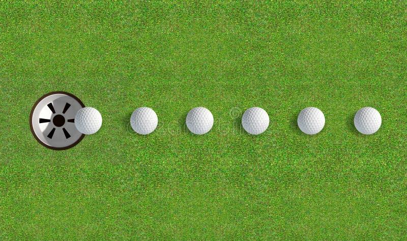Agujero del golf con el acercamiento de la bola foto de archivo