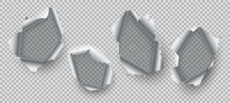 Agujero del metal Bordes rasgados del acero dañado, metal estallado con los agujeros rasgados desiguales La destrucción abierta a ilustración del vector
