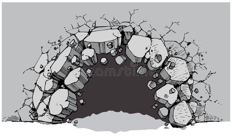 Agujero del nivel del suelo que se rompe a través de la pared ancha stock de ilustración