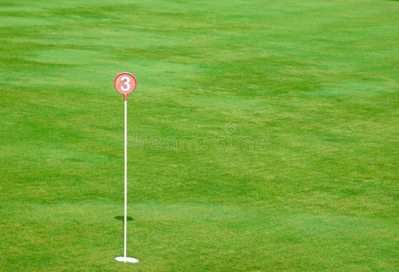 Agujero del putting green de la práctica del golf y marcado fotografía de archivo