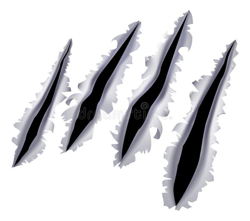 Agujero del rasguño de la garra del monstruo ilustración del vector