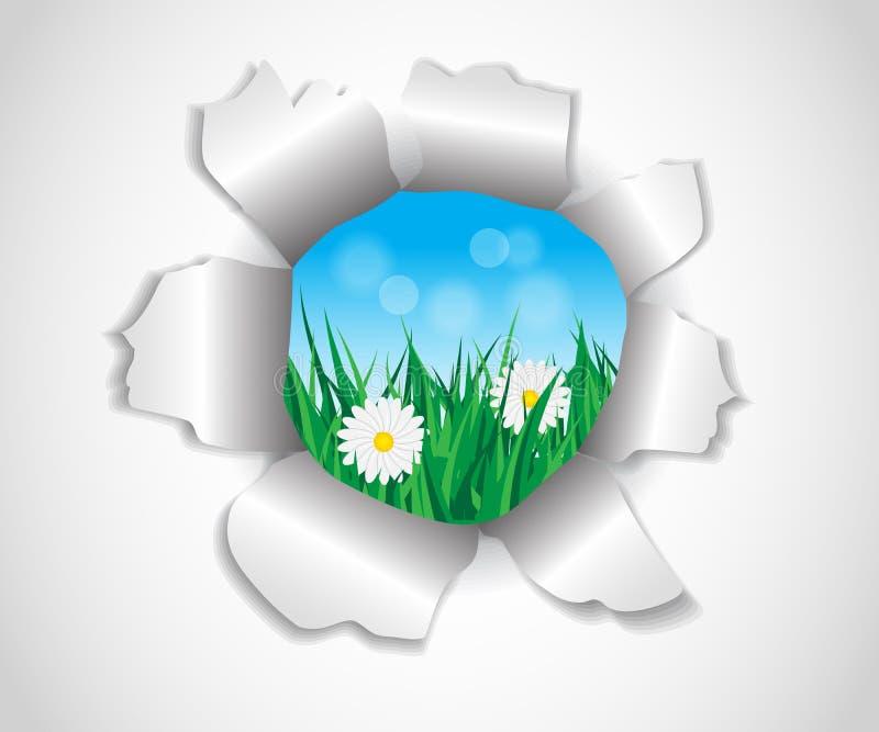 Agujero en el papel que hierba y flores ilustración del vector