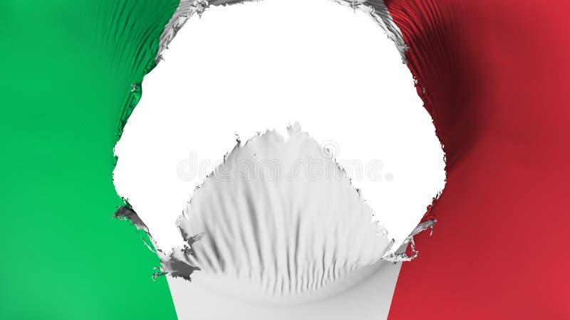 Agujero grande en la bandera de Italia ilustración del vector