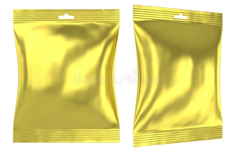 Agujero plástico de la ranura del bolso de la almohada de la hoja de oro ilustración del vector