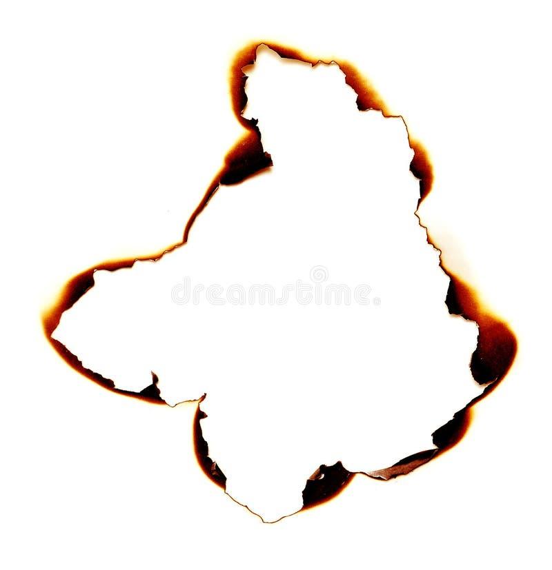 Agujero quemado foto de archivo libre de regalías