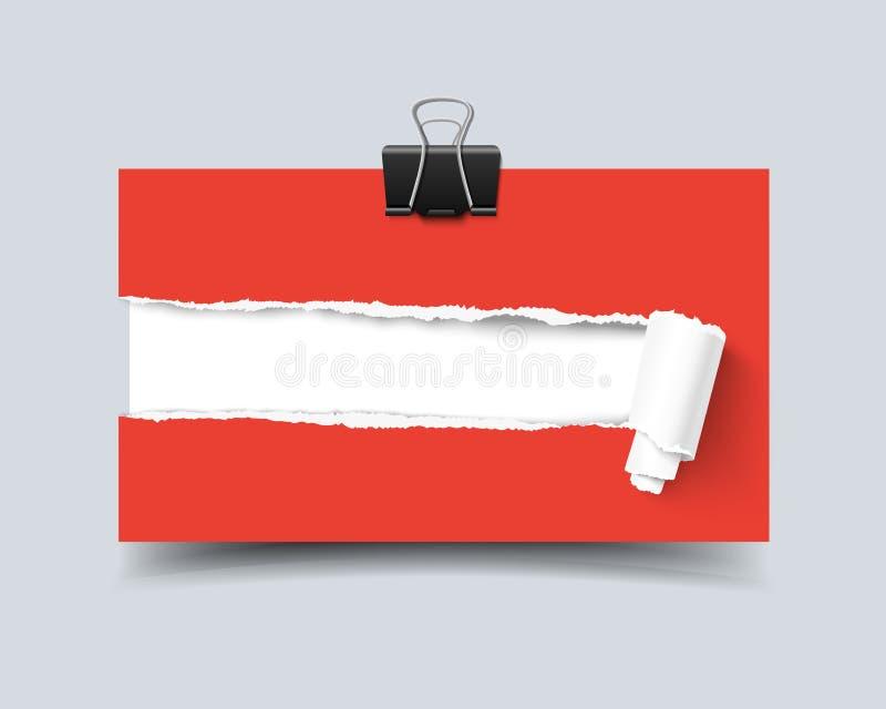 Agujero realista de la tarjeta de visita de la plantilla del vector en papel con los bordes y el rollo rasgados stock de ilustración