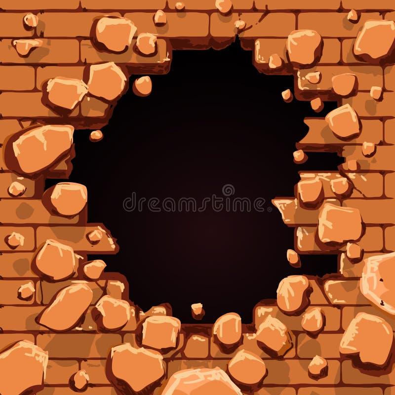Agujero rojo de la pared de ladrillo stock de ilustración