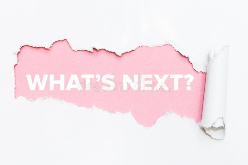 Agujero rosado en el Libro Blanco QU? ` S DESPU?S fotos de archivo libres de regalías