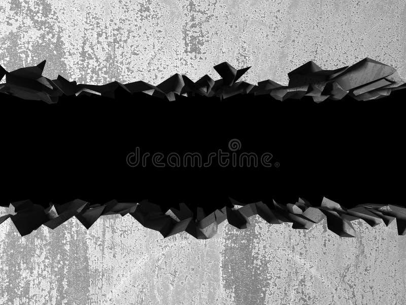 Agujero roto agrietado oscuro en muro de cemento ilustración del vector