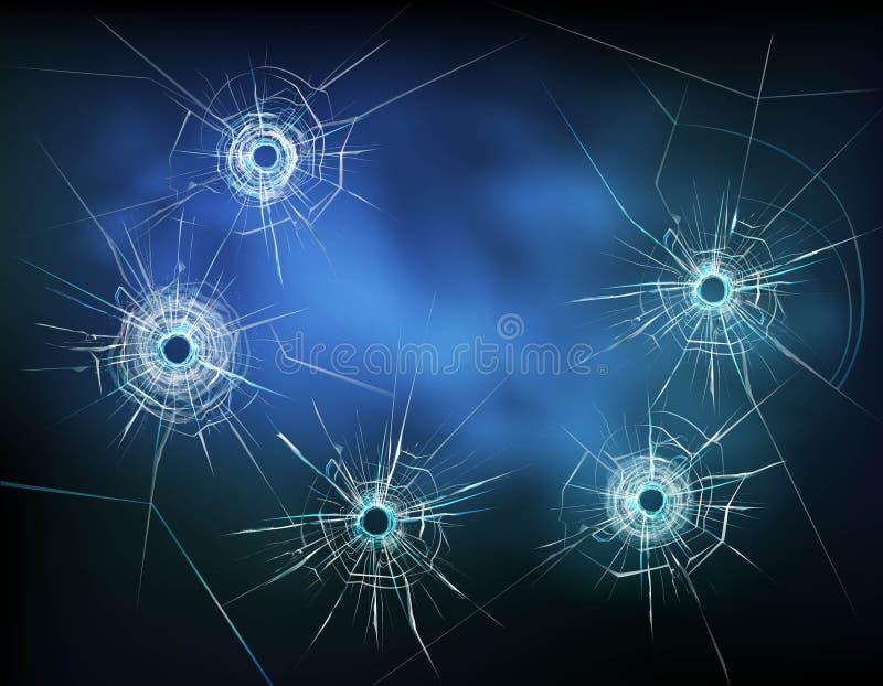 Agujeros de bala en el ejemplo de cristal stock de ilustración