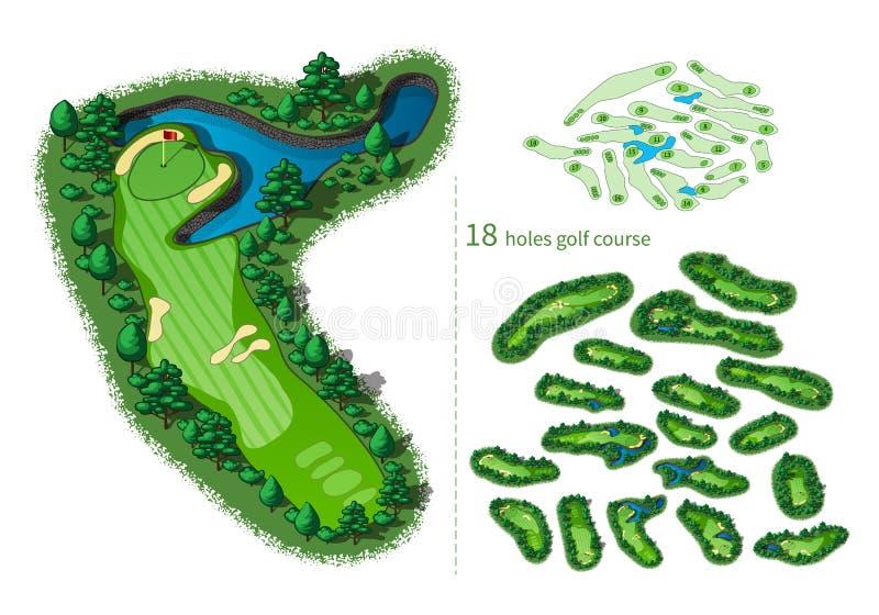Agujeros del mapa 18 del campo de golf libre illustration