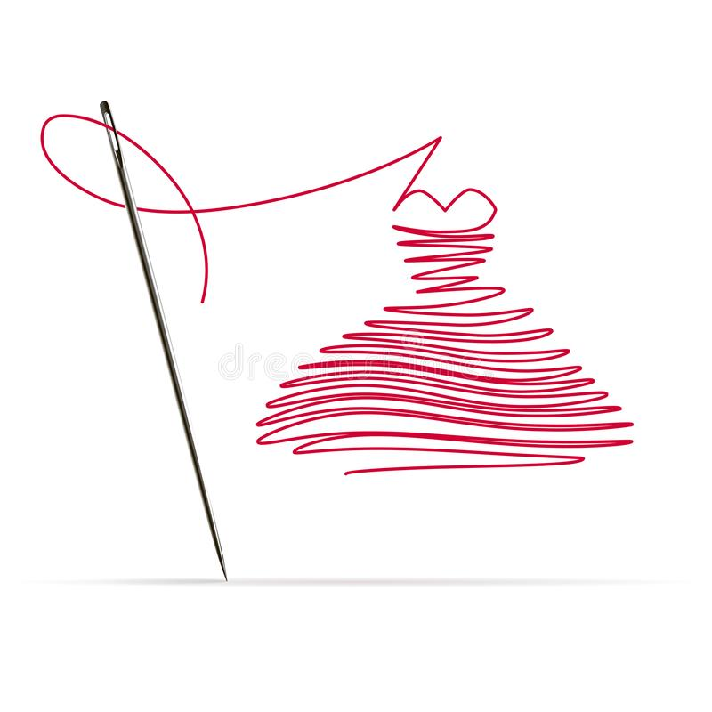 Agulha de costura com uma linha vermelha sob a forma de um vestido ilustração do vetor