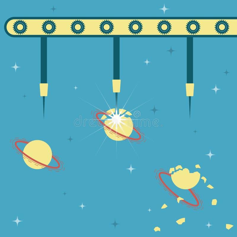 Agulhas que explodem o planeta ilustração do vetor