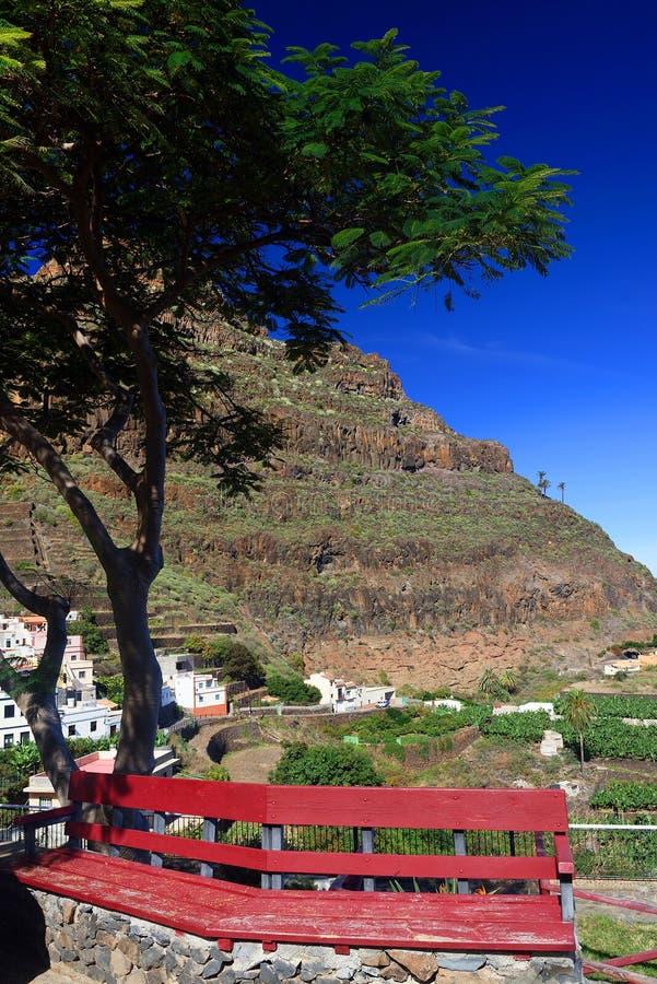 Agulo and El Teide Volcano. La Gomera, Spain, Europe royalty free stock image