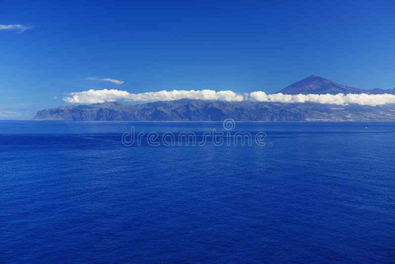 Agulo and El Teide Volcano. La Gomera, Spain, Europe royalty free stock images