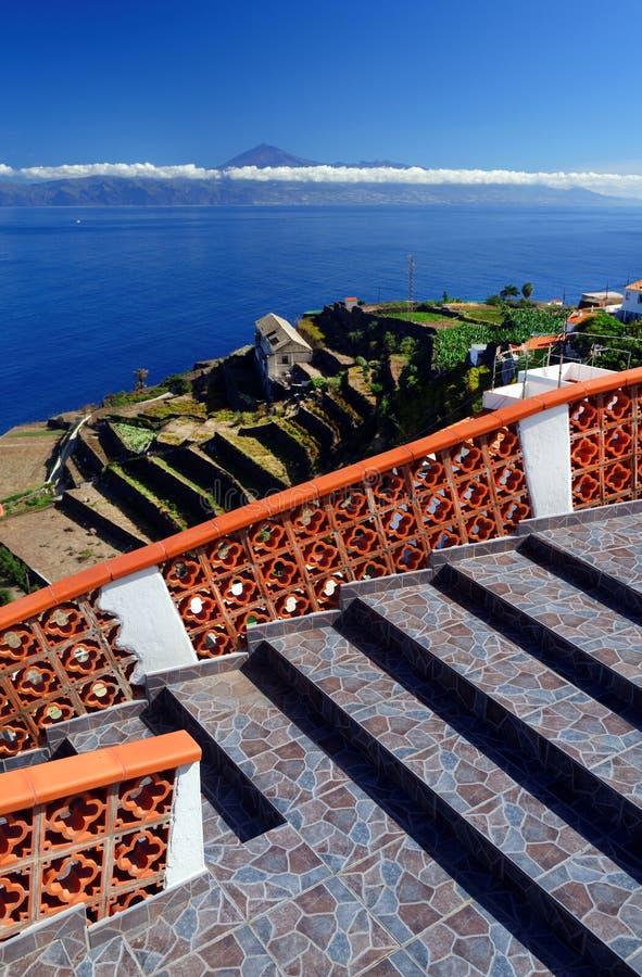 Agulo and El Teide Volcano. La Gomera, Spain, Europe royalty free stock photos