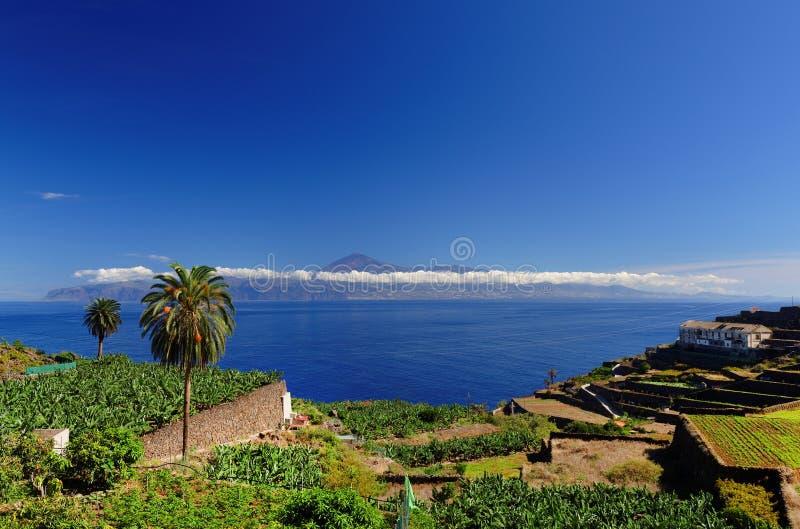 Agulo and El Teide Volcano. La Gomera, Spain, Europe royalty free stock photography