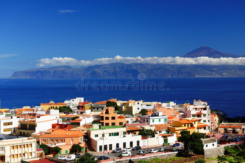 Agulo and El Teide Volcano. La Gomera, Spain, Europe stock photo