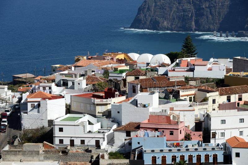 Agulo on Gomera island. Beautiful village of Agulo at the north coast of La Gomera stock photo